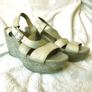 Clarks Leather Nadene Ziva Wedge Sandals